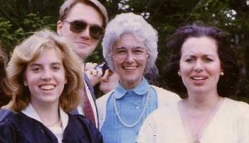 My college graduation day, with my mother, Sally Thomas (far right), my soon-to-be mother-in-law, Mary Frances Crum (middle). That's Chip peaking through at the back, and me in my graduation gown.