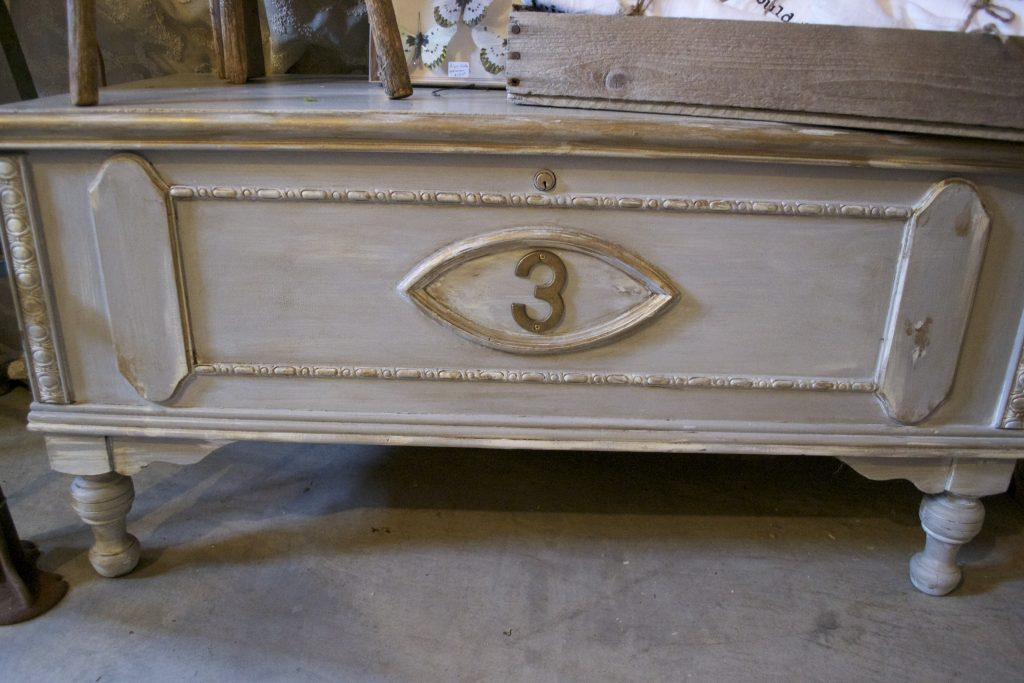 The brass number updates this beautifully painted chest.