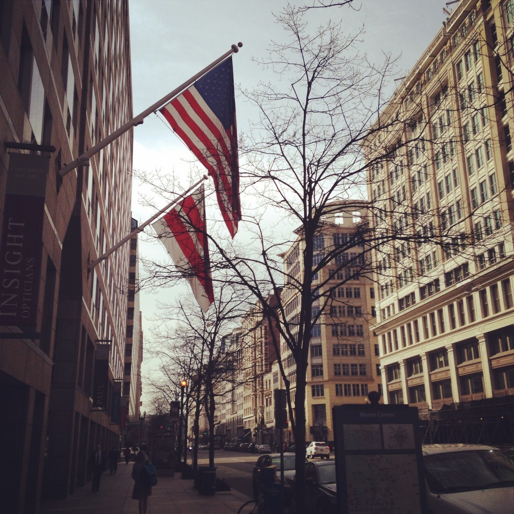 Flags flying in the balmy spring air on F Street in Washington, DC