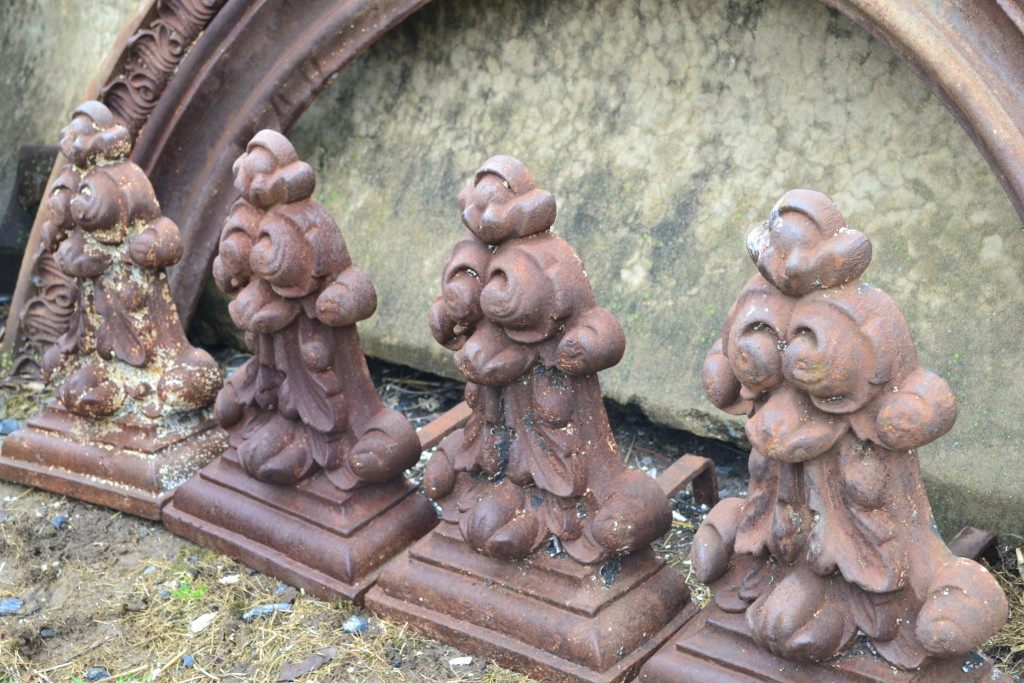 Imagine the fireplace these iron andirons were in!  Love them as pieces of sculpture.