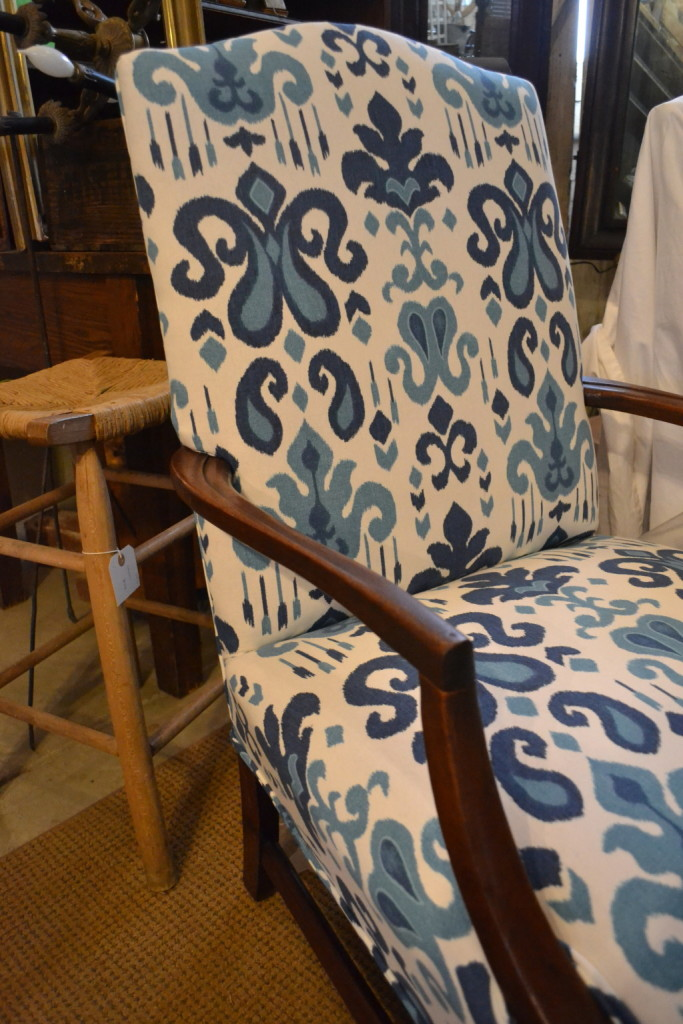 I'm loving indigo and white lately.  This fresh upholstery brings this chair to life.