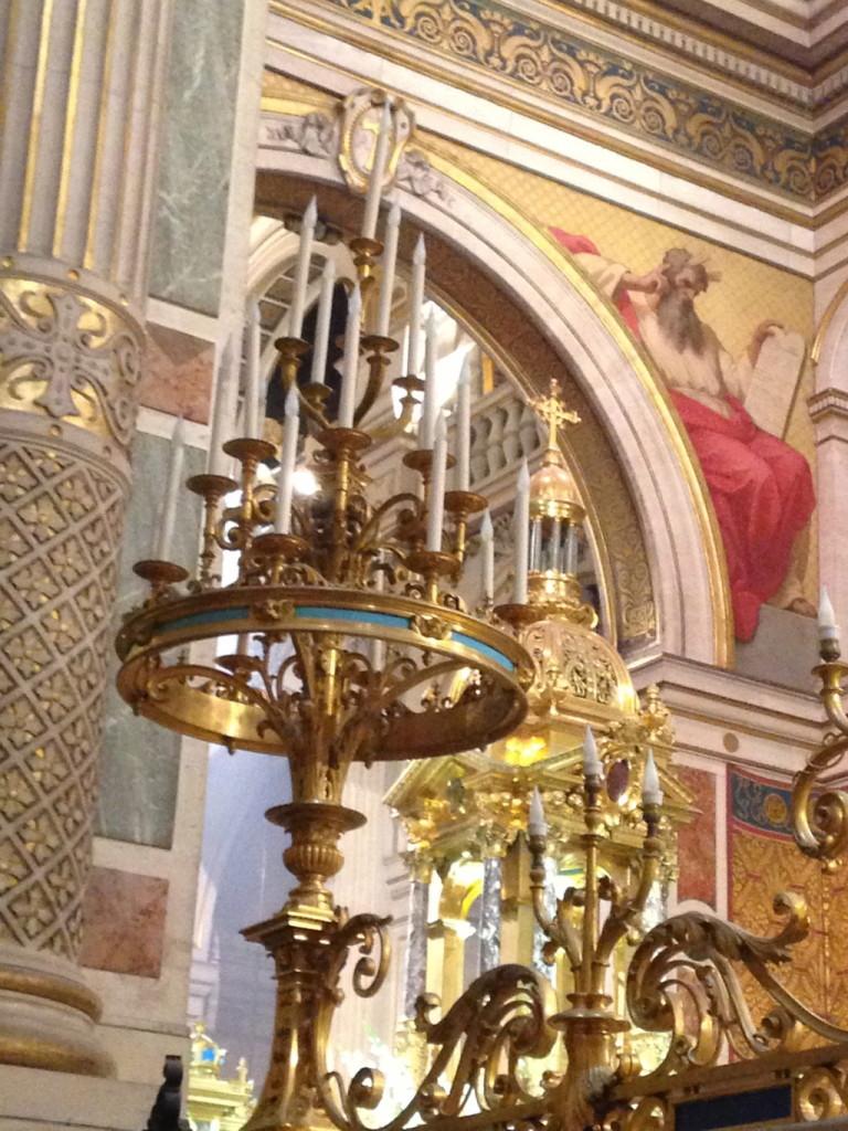The spectacular candleabra in a Paris church