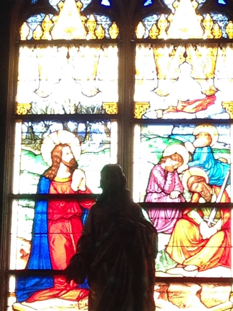 The agony in the garden, depicted in stained glass.
