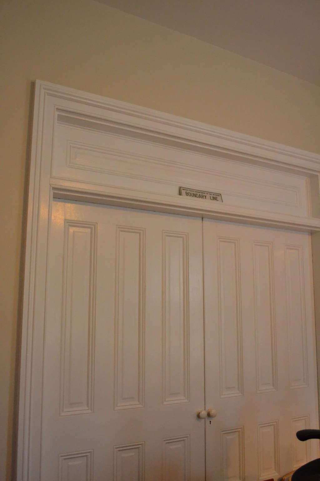 The large doors separating the owners' bedrooms. These doors swing open; they are not pocket doors, as you would expect.