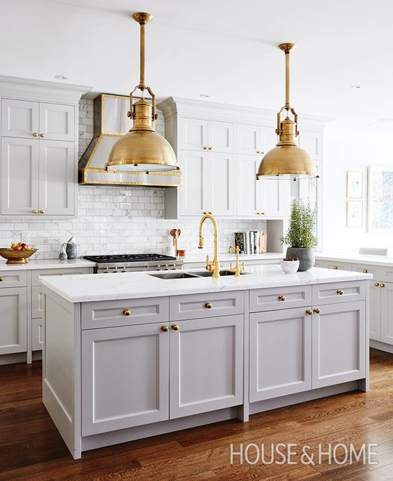 Perfect kitchen, wood floors, gold accents, marble