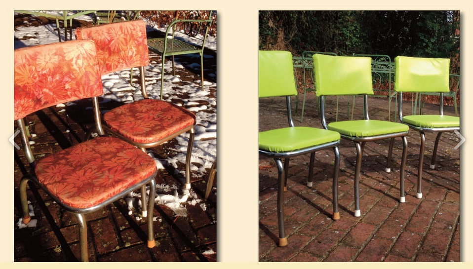 BEFORE and AFTER mid-century kitchen chairs.