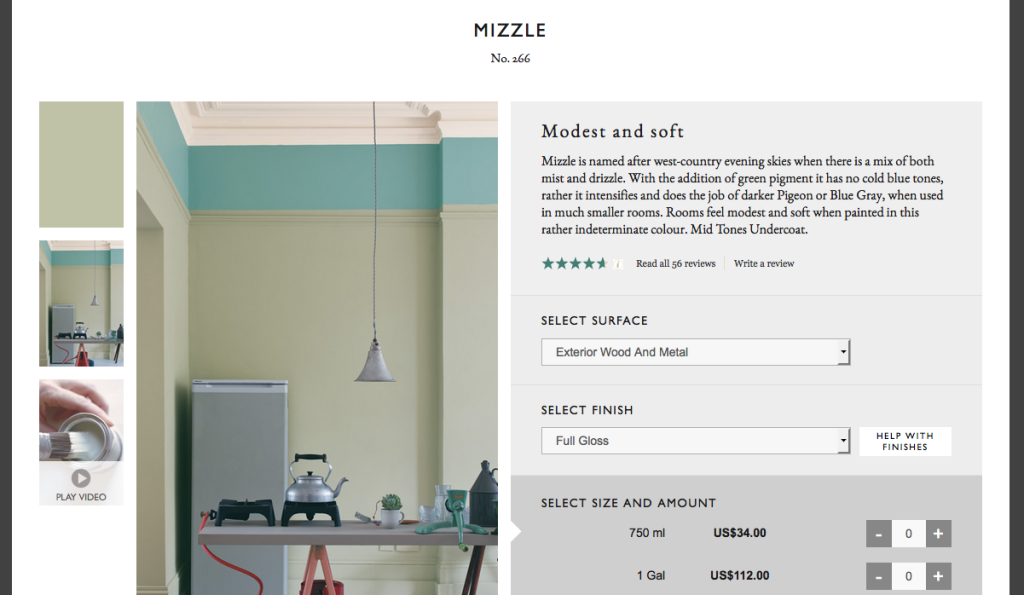 Farrow & Ball's Mizzle on the walls
