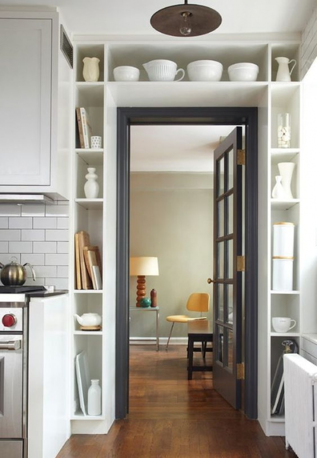 Space-saving door-surround shelves.