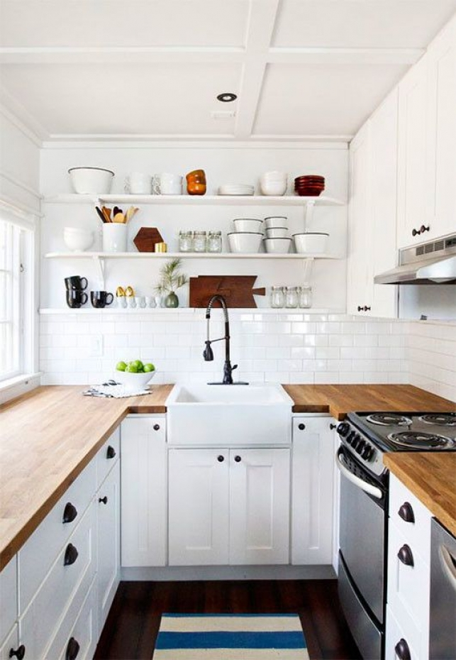 Small kitchen style, farmhouse sink, wood counters