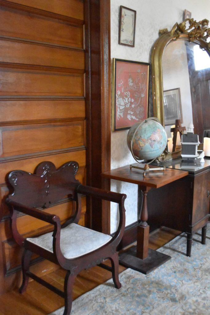 vintage globe, Korean silk screen, Mass in perpetuity