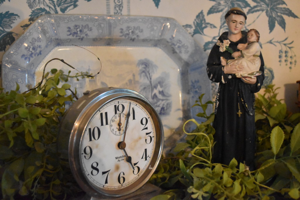 transferware, st anthony, vintage clock