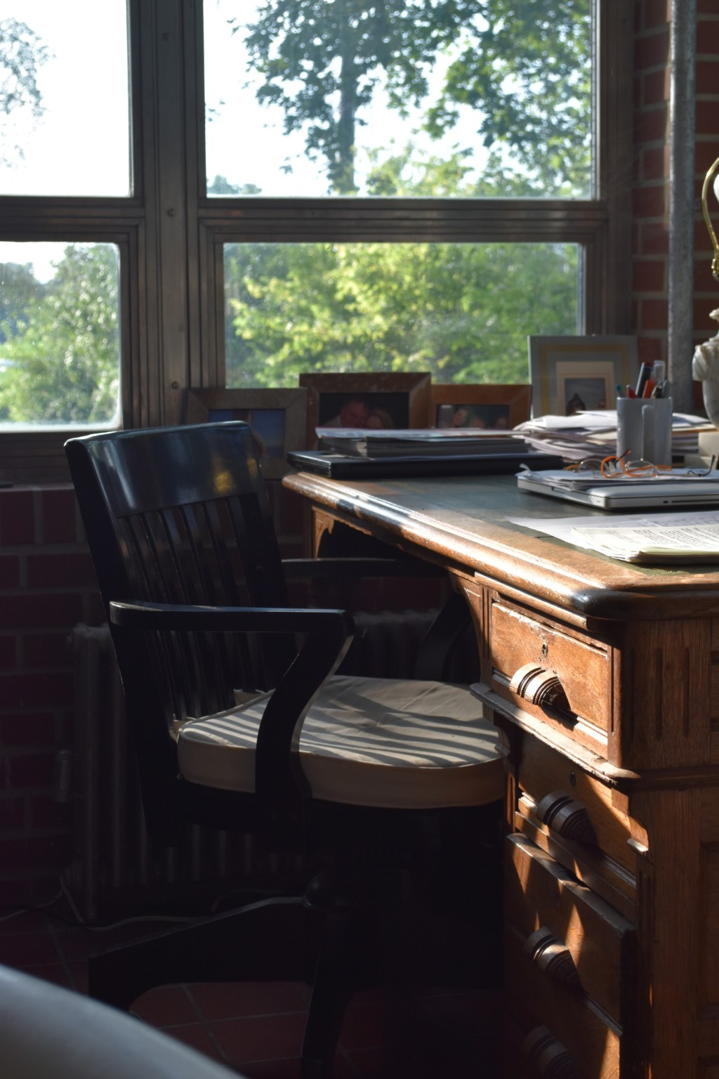 corner office, pottery barn chair, english oak desk, tulled leather