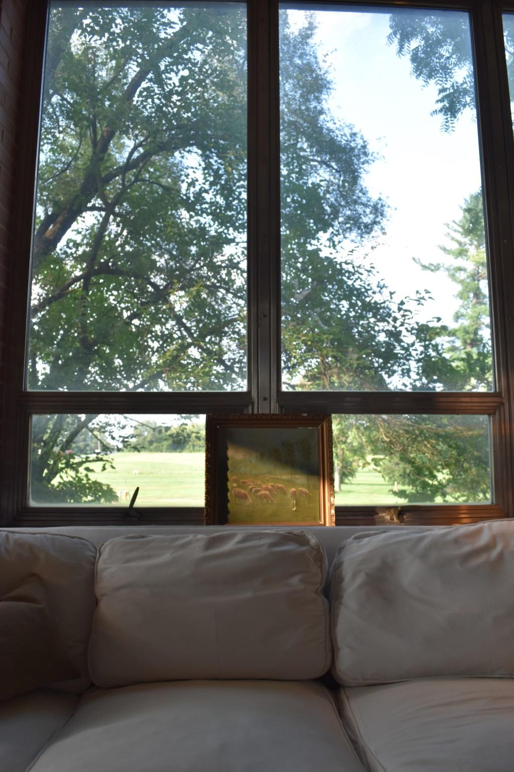 steel windows, slipcovered sofa, vintage art