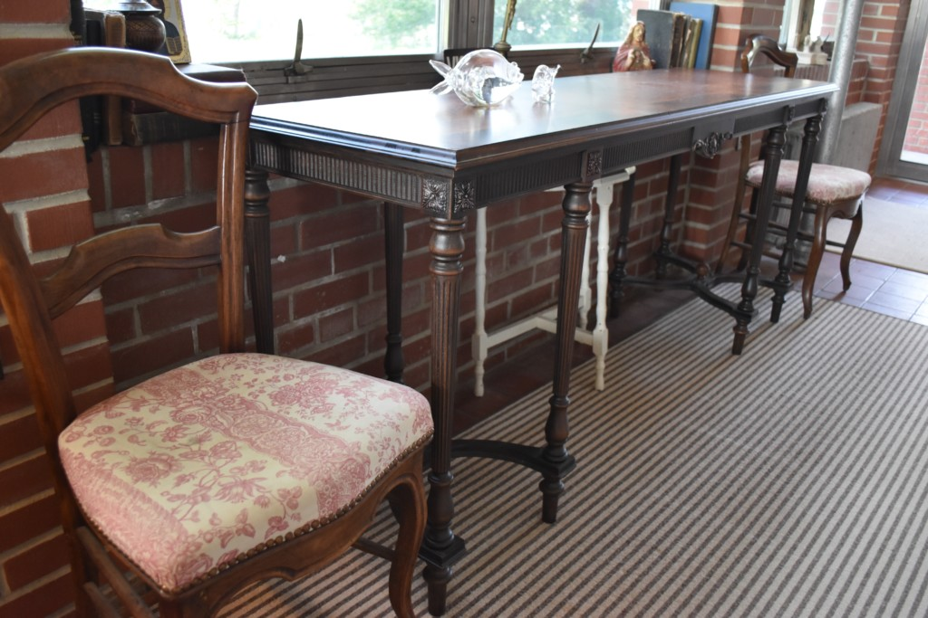french chairs, console table, Steuben glass