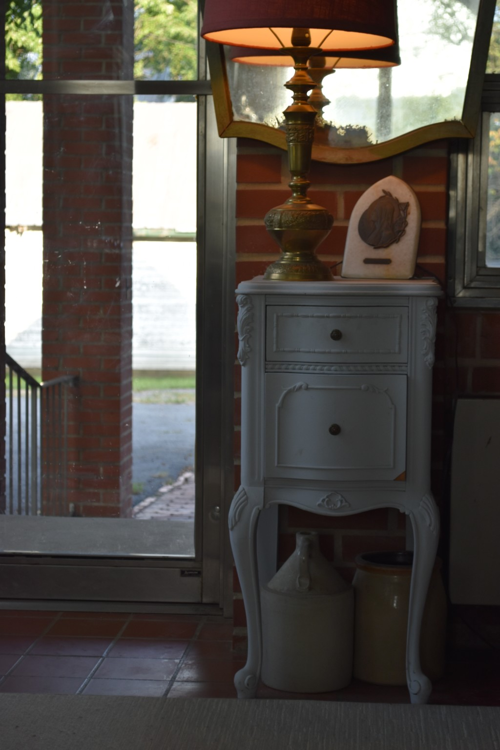 end table, painted furniture, glass door
