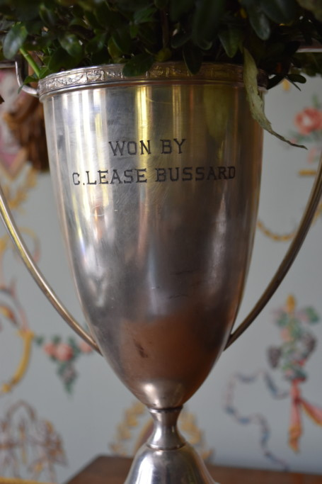 This silver loving cup was earned by my great-uncle Lease Bussard for tennis. He was a champion tennis player and is a member of the McDaniel College Sports Hall of Fame.