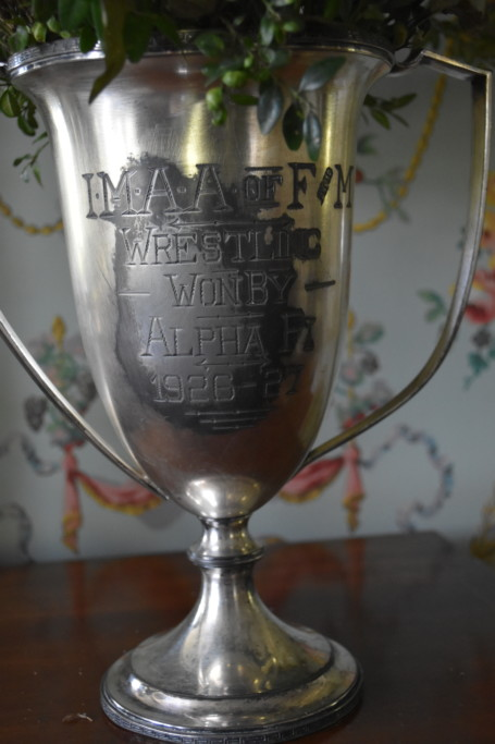 Not to be outdone by his brother-in-law, my grandfather won this loving cup trophy for wrestling while at Franklin & Marshall College.
