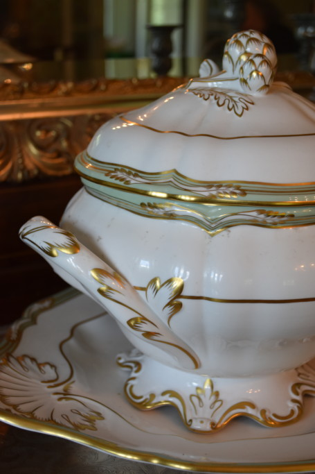 This spectacular Spode tureen was a present from my father to my mother many years ago. Its place has been here on this sideboard since they've been here, and with the sideboard going, the tureen must find a new home as well.
