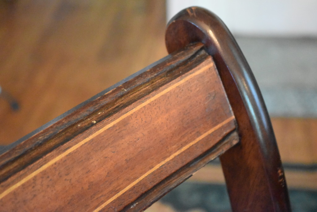 Detail of the inlay in the chair backs
