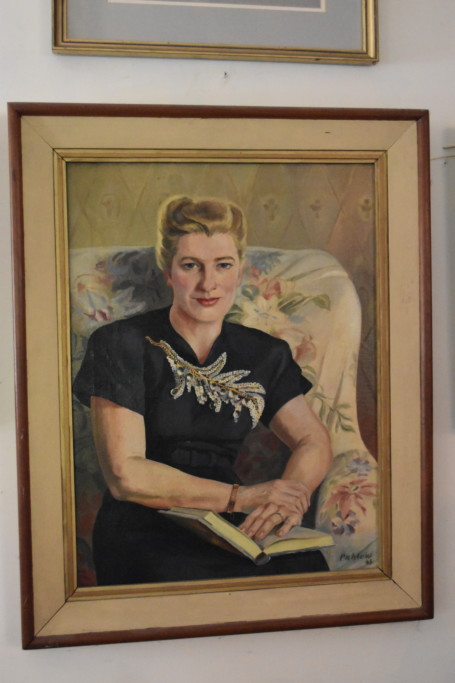 This portrait of my grandmother was done by Erich Pahlow, the German POW who painted the landscape of the farm that hangs in our glass room. It doesn't really look very much like her, but as long as I was at Mother and Daddy's I thought I'd shoot this picture for you to see.