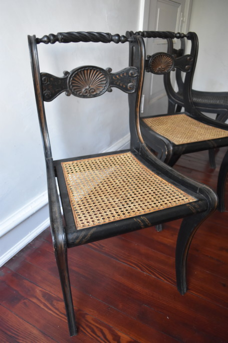 There are four of these exceptional American antique chairs. These, like the Chinese urns, are from Joseph in New York. The seats on two of them have been replaced, but the other two are original.