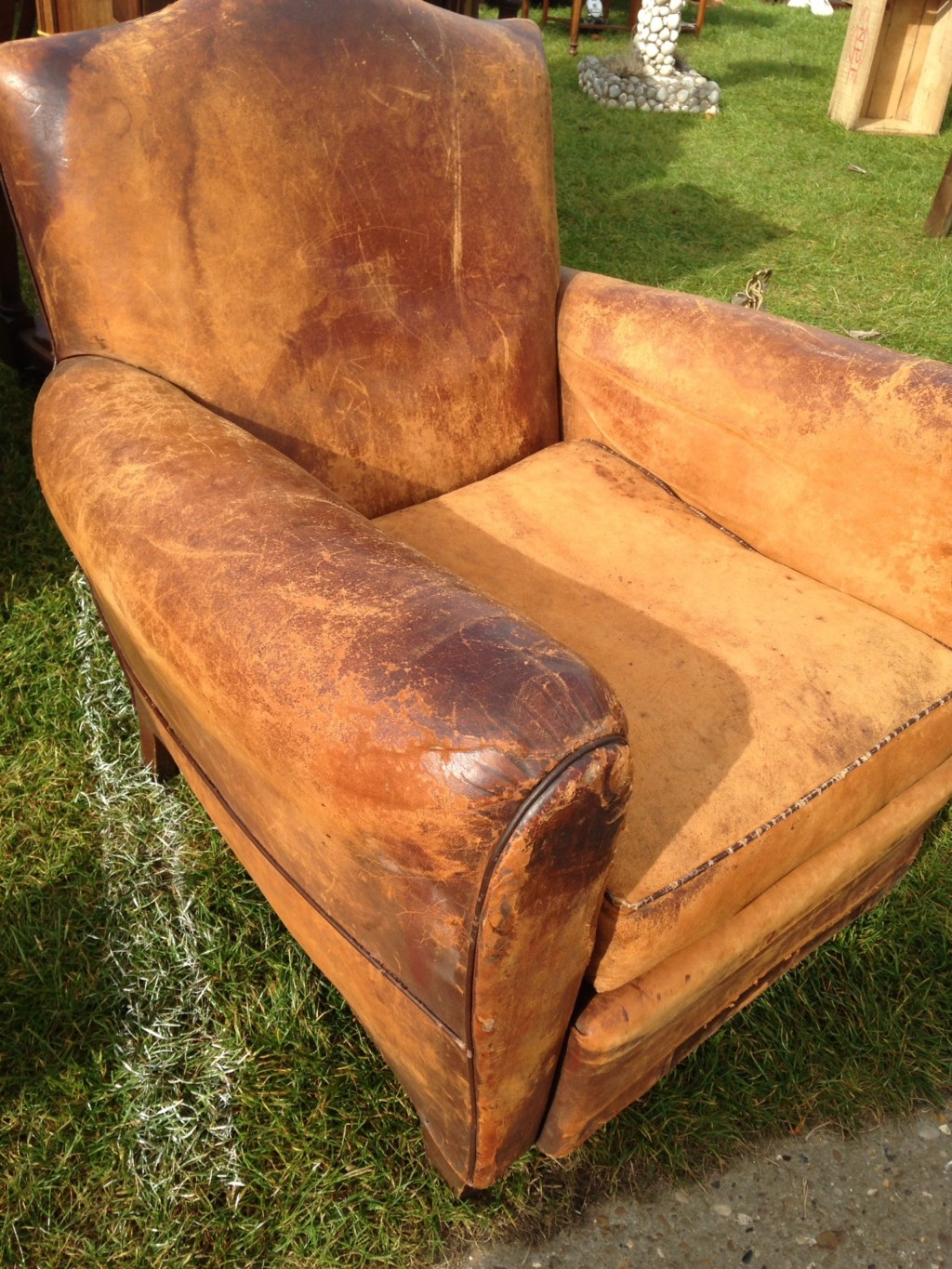 A genuine, leather, French club chair. Its a perfect specimen.