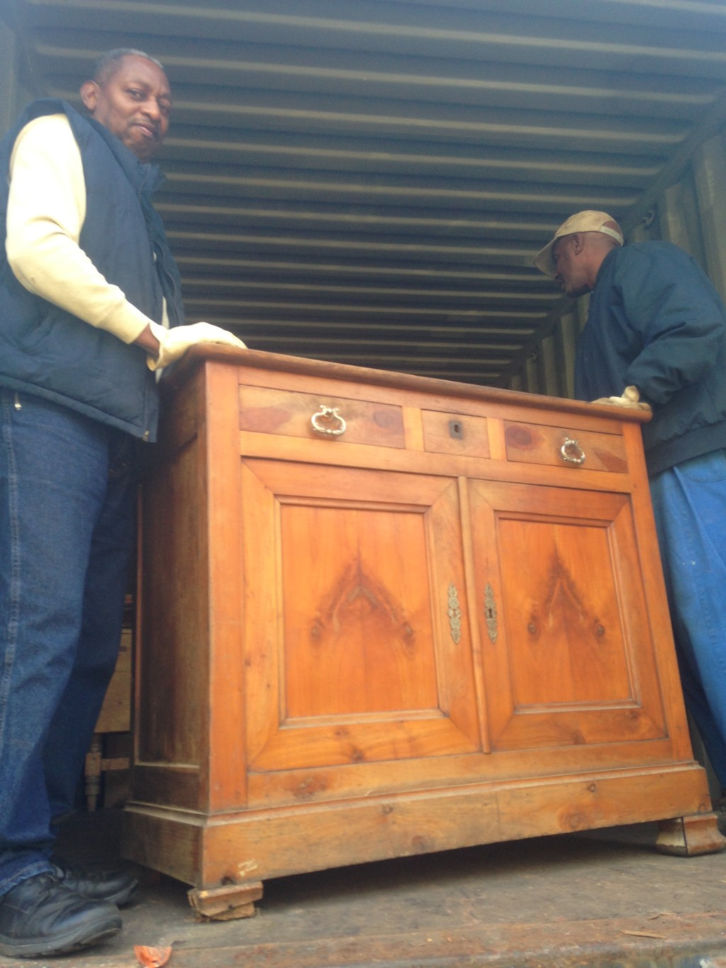 Here comes my French chest off the container!