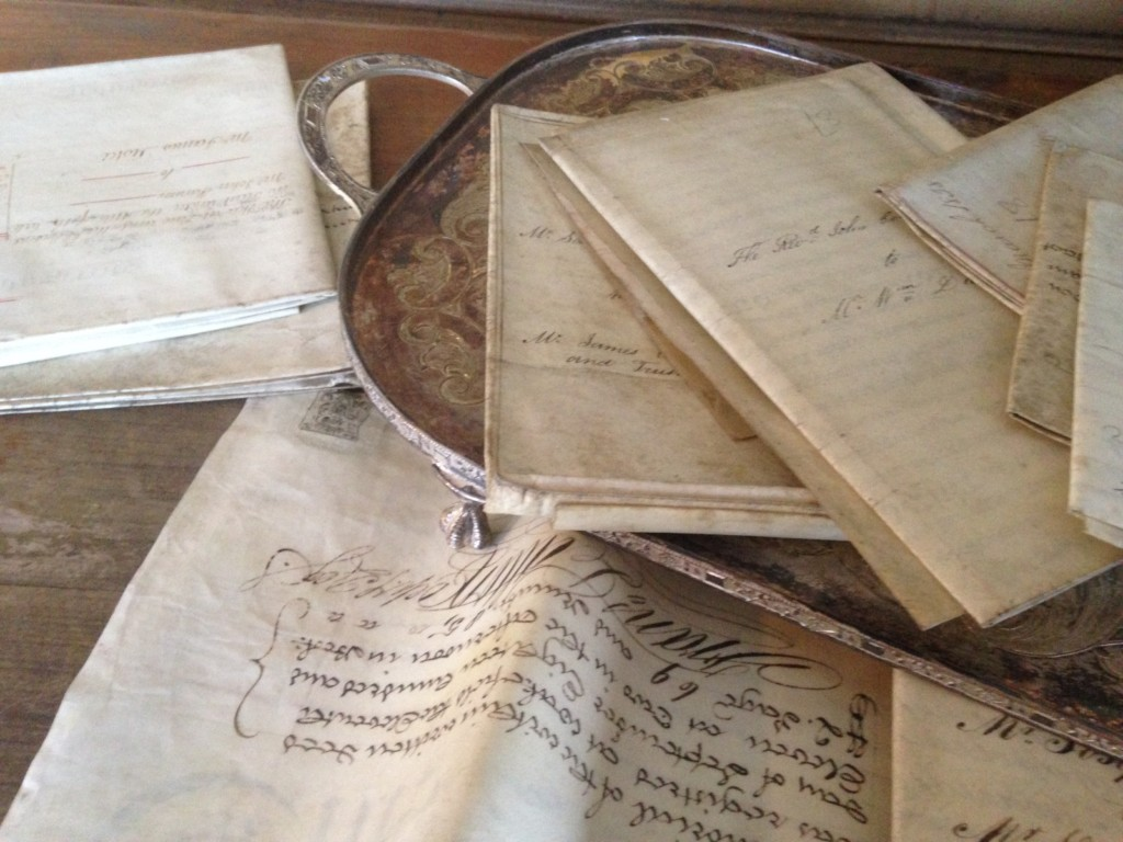 These are possibly my favorite find: hand-written deeds, mortgages, and indenture from the 18th and early 19th century. Their wax seals are still on them. Amazing pieces of the personal history of British subjects from hundreds of years ago. And beautiful, too.